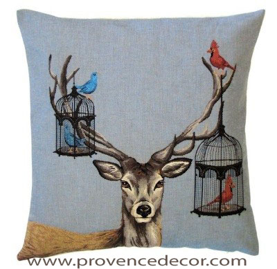 "DEER WITH BIRD CAGES Tapestry Pillow Covers are woven on a Jacquard loom (crafted with true traditional tapestry technique) with 100% high quality cotton thread, lined with a plain beige cotton backing and close with a zipper. Size: 18"" X 18"""