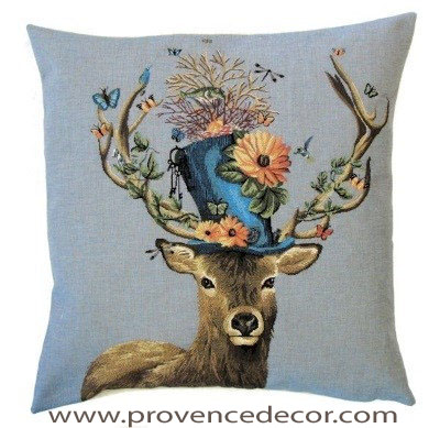DEER WITH FLOWER HAT Belgian Tapestry Throw Pillow Cases - Decorative 18 X 18 Square Pillow Covers - Zippered Throw Pillow Case - Jacquard Woven Belgium Tapestry Cushion Covers - Fun Forest Animals Throw Cushions - Mountain House Forest Deer Stag Flowers Home Decor Gifts