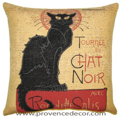 "The TOURNEE DU CHAT NOIR Tapestry Cushion Cover is a replica of Teophile Steinlen famous artwork in Tapestry. The details are exquisite. These gorgeous Jacquard Tapestry Throw Pillow Cases are the authentic GOBELIN Tapestry woven with 100% high quality cotton, lined with a soft beige velvet backing and close with a zipper. Size: 18"" X 18"""