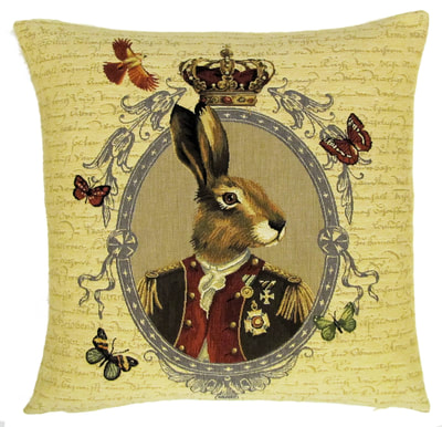 "ARISTO RABBIT PORTRAIT Tapestry Pillow Covers are woven on a Jacquard loom (crafted with true traditional tapestry technique) with 100% high quality cotton thread, lined with a plain beige cotton backing and close with a zipper. Size: 18"" X 18"""
