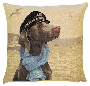 DOG SAILOR WEIMARANER European Belgian Tapestry Throw Pillow Cases - Decorative 18 X 18 Square Pillow Covers - Zippered Throw Pillow Case - Jacquard Woven Belgium Tapestry Cushion Covers - Fun Dressed Dog Throw Cushions - Dog Lover Gift - Navy Sailor Marin Ocean Home Decor Gifts