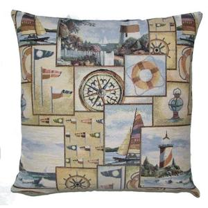 NAUTICAL Belgian Tapestry Throw Pillow Cases - Decorative 18 X 18 Square Pillow Covers - Zippered Throw Pillow Case - Jacquard Woven Belgium Tapestry Cushion Covers - Marin Ocean Light House Reversible Throw Cushions - Ocean Front House Home Decor Gifts