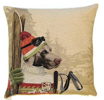 DOG SKIER WEIMARANER RED European Belgian Tapestry Throw Pillow Cases - Decorative 18 X 18 Square Pillow Covers - Zippered Throw Pillow Case - Jacquard Woven Belgium Tapestry Cushion Covers - Fun Dressed Dog Throw Cushions - Dog Lover Gift - Antique Classic Vintage Ski Home Decor