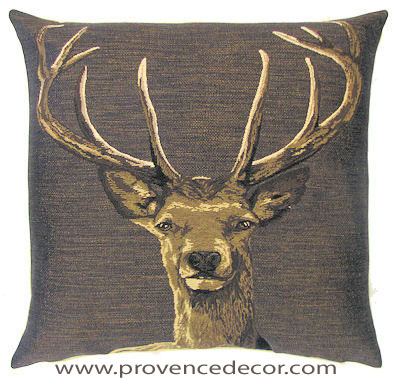 STAG HEAD BROWN Belgian Tapestry Throw Pillow Cases - Decorative 18 X 18 Square Pillow Covers - Zippered Throw Pillow Case - Jacquard Woven Belgium Tapestry Cushion Covers - Fun Forest Animals Throw Cushions - Mountain House Forest Deer Stag Head Home Decor Gifts