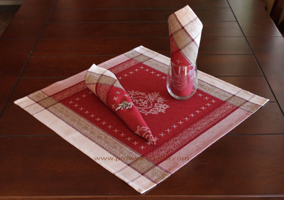 ELEGANCE RED French Provence Jacquard Woven Cotton Napkins Set - Table Decor - French Home Decor