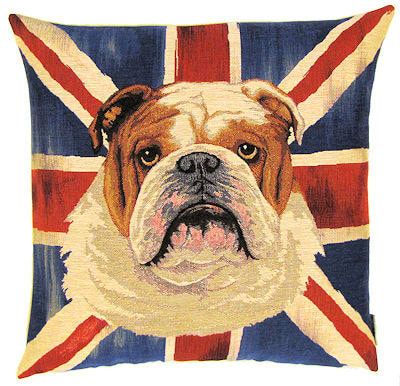 DOG ENGLISH BULLDOG UNION JACK FLAG Belgian Tapestry Throw Pillow Cases - Decorative 18 X 18 Square Pillow Covers - Zippered Throw Pillow Case - Jacquard Woven Belgium Tapestry Cushion Covers - Fun Dressed Dog Throw Cushions - Dog Lover Gift - Bulldog English Flag London Home Decor Gifts