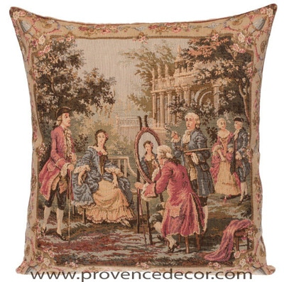 "The PAINTING Tapestry Cushion Cover is a replica of Francois Boucher famous artwork in Tapestry. The details are exquisite, looks like a real painting.These gorgeous Jacquard Tapestry Throw Pillow Cases are the authentic GOBELIN Tapestry woven with 100% high quality cotton, lined with a soft beige velvet backing and close with a zipper. Size: 18"" X 18"""