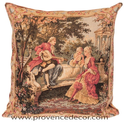 "The PLAYING MUSIC Tapestry Cushion Cover is a replica of Francois Boucher famous artwork in Tapestry. The details are exquisite, looks like a real painting. These gorgeous Jacquard Tapestry Throw Pillow Cases are the authentic GOBELIN Tapestry woven with 100% high quality cotton, lined with a soft beige velvet backing and close with a zipper.  Size: 18"" X 18"""