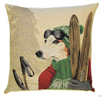 DOG SKIER JACK RUSSELL GREEN European Belgian Tapestry Throw Pillow Cases - Decorative 18 X 18 Square Pillow Covers - Zippered Throw Pillow Case - Jacquard Woven Belgium Tapestry Cushion Covers - Fun Dressed Dog Throw Cushions - Dog Lover Gift - Antique Classic Vintage Ski Home Decor