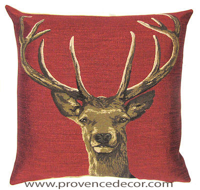 STAG HEAD RED Belgian Tapestry Throw Pillow Cases - Decorative 18 X 18 Square Pillow Covers - Zippered Throw Pillow Case - Jacquard Woven Belgium Tapestry Cushion Covers - Fun Forest Animals Throw Cushions - Mountain House Forest Deer Stag Head Home Decor Gifts