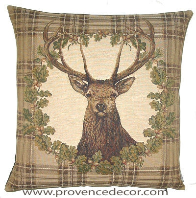 DEER PORTRAIT BROWN Belgian Tapestry Throw Pillow Cases - Decorative 18 X 18 Square Pillow Covers - Zippered Throw Pillow Case - Jacquard Woven Belgium Tapestry Cushion Covers - Fun Forest Animals Throw Cushions - Mountain House Forest Deer Stag Home Decor Gifts