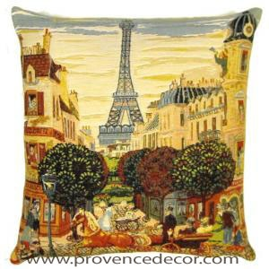 "The PARIS EIFFEL TOWER Pillow Cover is a Gobelin Tapestry Art Design of the Eiffel Tower in the old beautiful streets of Paris. The details are exquisite. These gorgeous Jacquard Tapestry Throw Pillow Cases are the authentic GOBELIN Tapestry woven with 100% high quality cotton, lined with a soft beige velvet backing and close with a zipper. Size: 18"" X 18"""