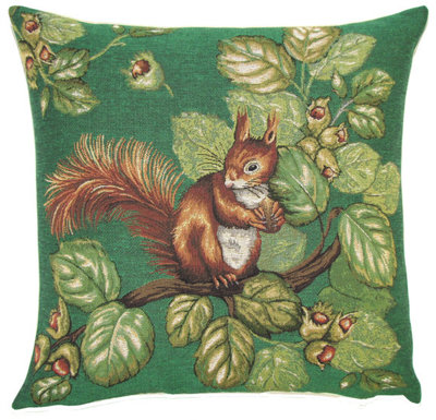 "SQUIRREL ON FOREST TREE Tapestry Pillow Covers are woven on a Jacquard loom (crafted with true traditional tapestry technique) with 100% high quality cotton thread, lined with a plain beige cotton backing and close with a zipper. Size: 18"" X 18"""