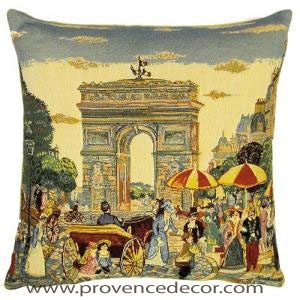 "The PARIS ARC DE TRIOMPHE - ARCH OF TRIUMPH Pillow Cover is a Gobelin Tapestry Art Design of the Arc de Triomphe in the old beautiful streets of Paris. These gorgeous Jacquard Tapestry Throw Pillow Cases are the authentic GOBELIN Tapestry woven with 100% high quality cotton, lined with a soft beige velvet backing and close with a zipper. Size: 18"" X 18"""