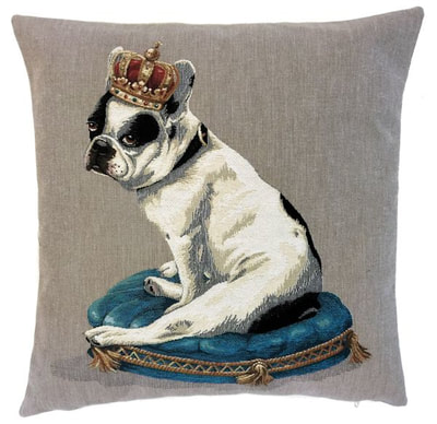 DOG ROYAL FRENCH BULLDOG Belgian Tapestry Throw Pillow Cases - Decorative 18 X 18 Square Pillow Covers - Zippered Throw Pillow Case - Jacquard Woven Belgium Tapestry Cushion Covers - Fun Dressed Dog Throw Cushions - Dog Lover Gift - French Bulldog King Castle Royal Palace Home Decor Gifts