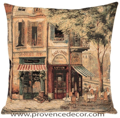 "The CAFE DE PARIS Pillow Cover is a Gobelin Tapestry Art Design of an Authentic Cafe in the beautiful streets of Paris. The details are exquisite. These gorgeous Jacquard Tapestry Throw Pillow Cases are the authentic GOBELIN Tapestry woven with 100% high quality cotton, lined with a soft beige velvet backing and close with a zipper. Size: 18"" X 18"""