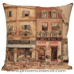 "The RESTAURANT IN PARIS Pillow Cover is a Gobelin Tapestry Art Design​ of an Authentic Restaurant in the beautiful streets of Paris. The details are exquisite. These gorgeous Jacquard Tapestry Throw Pillow Cases are the authentic GOBELIN Tapestry woven with 100% high quality cotton, lined with a soft beige velvet backing and close with a zipper. Size: 18"" X 18"""