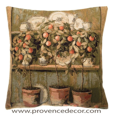 "The ORANGE TREE DECOR Pillow Cover is a Gobelin Tapestry Art Design​ of a French Country Orange Tree Decor. The details are exquisite. These gorgeous Jacquard Tapestry Throw Pillow Cases are the authentic GOBELIN Tapestry woven with 100% high quality cotton, lined with a soft beige velvet backing and close with a zipper. Size: 18"" X 18"""