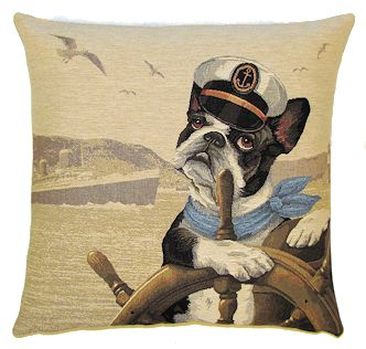 DOG SAILOR BOSTON TERRIER European Belgian Tapestry Throw Pillow Cases - Decorative 18 X 18 Square Pillow Covers - Zippered Throw Pillow Case - Jacquard Woven Belgium Tapestry Cushion Covers - Fun Dressed Dog Throw Cushions - Dog Lover Gift - Navy Sailor Marin Home Decor Gifts