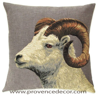 "GOAT Tapestry Pillow Covers are woven on a Jacquard loom (crafted with true traditional tapestry technique) with 100% high quality cotton thread, lined with a plain beige cotton backing and close with a zipper. Size: 18"" X 18"""