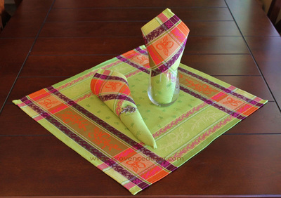 LEMON GREEN French Provence Jacquard Woven Cotton Napkins Set - Table Decor - French Home Decor