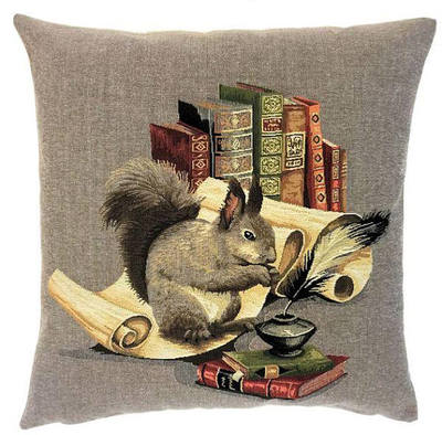 "SQUIRREL IN LIBRARY Tapestry Pillow Covers are woven on a Jacquard loom (crafted with true traditional tapestry technique) with 100% high quality cotton thread, lined with a plain beige cotton backing and close with a zipper. Size: 18"" X 18"""