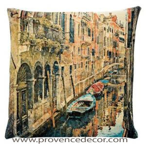 "The VENICE CANAL Pillow Cover is a Gobelin Tapestry Art Design of the Venice Canals in Italy. These gorgeous Jacquard Tapestry Throw Pillow Cases are the authentic GOBELIN Tapestry woven with 100% high quality cotton, lined with a soft beige velvet backing and close with a zipper. Size: 18"" X 18"""