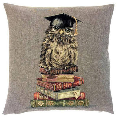 "OWL IN LIBRARY Tapestry Pillow Covers are woven on a Jacquard loom (crafted with true traditional tapestry technique) with 100% high quality cotton thread, lined with a plain beige cotton backing and close with a zipper. Size: 18"" X 18"""
