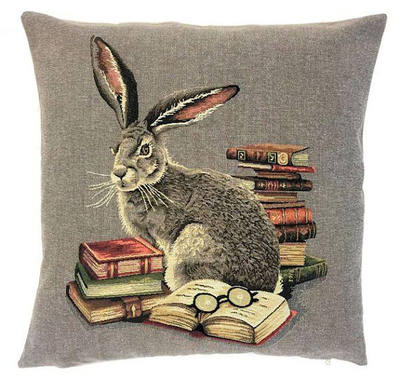 "RABBIT IN LIBRARY Tapestry Pillow Covers are woven on a Jacquard loom (crafted with true traditional tapestry technique) with 100% high quality cotton thread, lined with a plain beige cotton backing and close with a zipper. Size: 18"" X 18"""