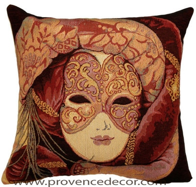 "The VENICE MASK BELLA Pillow Cover is a Gobelin Tapestry Art Design of a Venice Mask used in the Carnival of Venice. These gorgeous Jacquard Tapestry Throw Pillow Cases are the authentic GOBELIN Tapestry woven with 100% high quality cotton, lined with a soft beige velvet backing and close with a zipper. Size: 16"" X 16"""
