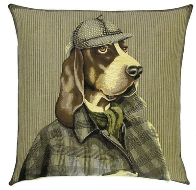DOG BASSET HOUND SHERLOCK HOLMES Belgian Tapestry Throw Pillow Cases - Decorative 18 X 18 Square Pillow Covers - Zippered Throw Pillow Case - Jacquard Woven Belgium Tapestry Cushion Covers - Fun Dressed Dog Throw Cushions - Dog Lover Gift - Basset Hound Detective Sherlock Holmes Home Decor Gifts