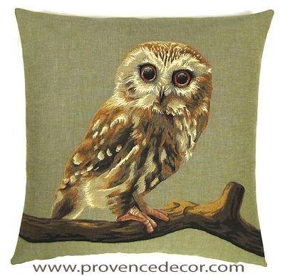 "FOREST OWL Tapestry Pillow Covers are woven on a Jacquard loom (crafted with true traditional tapestry technique) with 100% high quality cotton thread, lined with a plain beige cotton backing and close with a zipper. Size: 18"" X 18"""