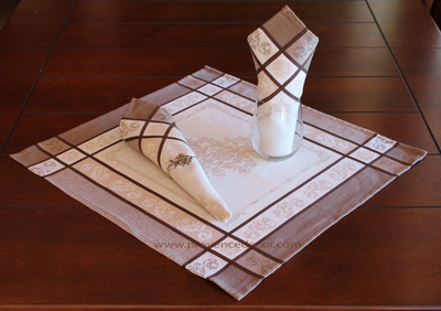 PARISIENNE TAUPE French Provence Jacquard Woven Cotton Napkins Set - Table Decor - French Home Decor