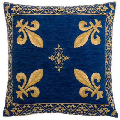 "The FLEUR DE LYS BLUE Pillow Cover is a Gobelin Tapestry Art Design of the Fleur de Lys used by many Royalties in France. These gorgeous Jacquard Tapestry Throw Pillow Cases are the authentic GOBELIN Tapestry woven with 100% high quality cotton, lined with a soft beige velvet backing and close with a zipper. Size: 18"" X 18"""