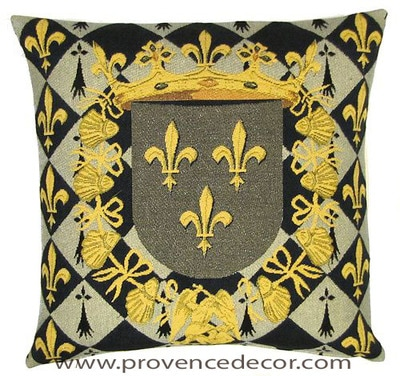 "The FLEUR DE LYS CREST Pillow Cover is a Gobelin Tapestry Art Design of the Fleur de Lys used by many Royalties in France. These gorgeous Jacquard Tapestry Throw Pillow Cases are the authentic GOBELIN Tapestry woven with 100% high quality cotton, lined with a soft beige velvet backing and close with a zipper. Size: 18"" X 18"""