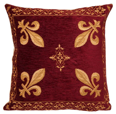 FLEUR DE LYS BURGUNDY RED Jacquard Woven Gobelin European Belgian Tapestry Throw Pillow Cases 18 X 18 square - Decorative Pillow Covers - Zippered Pillow Case - Belgium Tapestry Cushion Cases - French Royal Decor Fleur de Lys Art Lovers Gift Cushion Covers - French Art Gallery Gifts Home Decor - Belgium decorative Tapestry