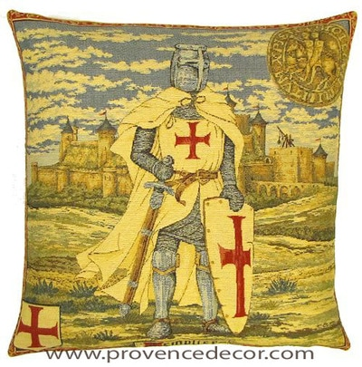 "The KNIGHTS TEMPLAR Pillow Cover is a Gobelin Tapestry Art Design of a Knights Templar of the 12th - 14th Century Middle Ages in France. These gorgeous Jacquard Tapestry Throw Pillow Cases are the authentic GOBELIN Tapestry woven with 100% high quality cotton, lined with a soft beige velvet backing and close with a zipper. Size: 18"" X 18"""