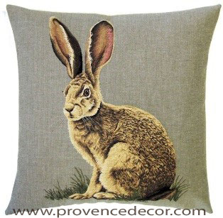 "FOREST RABBIT Tapestry Pillow Covers are woven on a Jacquard loom (crafted with true traditional tapestry technique) with 100% high quality cotton thread, lined with a plain beige cotton backing and close with a zipper. Size: 18"" X 18"""