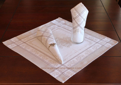 PARISIENNE LINEN French Provence Jacquard Woven Cotton Napkins Set - Table Decor - French Home Decor