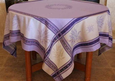 LAVENDER PURPLE Jacquard Woven Teflon Cotton Coated French Tablecloths - Easy Clean Elegant Party Table Decor - French Country Home Decor Gifts