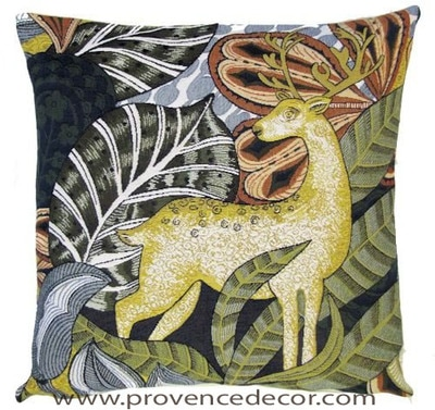 "This DREAM DEER Tapestry Cushion Cover is a Gobelin Tapestry Art Design. The details are exquisite. These gorgeous Jacquard Tapestry Throw Pillow Cases are the authentic GOBELIN Tapestry woven with 100% high quality cotton, lined with a light beige cotton backing and close with a zipper. Size: 18"" X 18"""