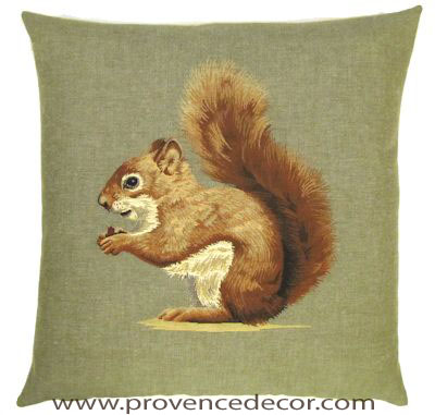"FOREST SQUIRREL Tapestry Pillow Covers are woven on a Jacquard loom (crafted with true traditional tapestry technique) with 100% high quality cotton thread, lined with a plain beige cotton backing and close with a zipper. Size: 18"" X 18"""