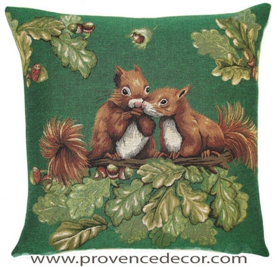 "SQUIRREL COUPLE ON FOREST TREE Tapestry Pillow Covers are woven on a Jacquard loom (crafted with true traditional tapestry technique) with 100% high quality cotton thread, lined with a plain beige cotton backing and close with a zipper. Size: 18"" X 18"""