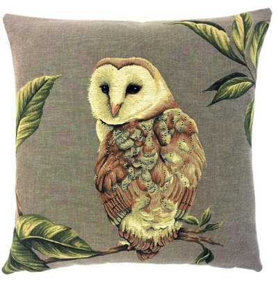 BARN OWL Authentic European Belgian Tapestry Throw Pillow Cases - Decorative Pillow Covers - Zippered Throw Pillow Case - Owl Lovers Gift - Forest Animals Cushion Covers - Owl Art - Birds Home Decor Gifts - Fun Forest Animals Lovers Cushion Covers Decor - Owl Lovers Gift