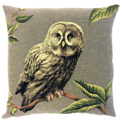 BARRED OWL Authentic European Belgian Tapestry Throw Pillow Cases - Decorative Pillow Covers - Zippered Throw Pillow Case - Owl Lovers Gift - Forest Animals Cushion Covers - Owl Art - Birds Home Decor Gifts - Fun Forest Animals Lovers Cushion Covers Decor - Owl Lovers Gift