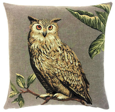 EAGLE OWL Authentic European Belgian Tapestry Throw Pillow Cases - Decorative Pillow Covers - Zippered Throw Pillow Case - Owl Lovers Gift - Forest Animals Cushion Covers - Owl Art - Birds Home Decor Gifts - Fun Forest Animals Lovers Cushion Covers Decor - Owl Lovers Gift
