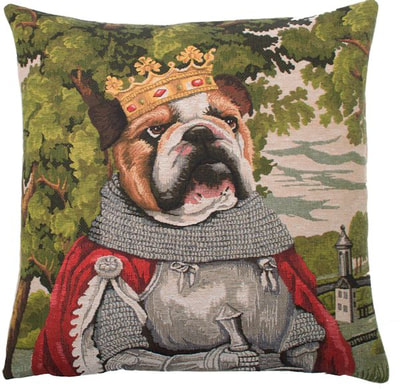 KING ARTHUR ENGLISH BULLDOG Belgian Tapestry Throw Pillow Cases - Decorative 18 X 18 Square Pillow Covers - Zippered Throw Pillow Case - Jacquard Woven Belgium Tapestry Cushion Covers - Fun Dressed Dog Throw Cushions - Dog Lover Gift - Bulldog King Arthur Castle Medieval Renaissance Home Decor Gifts