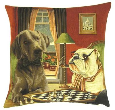 DOGS ENGLISH BULLDOG AND RHODESIAN RIDGEBACK PLAYING CHESS European Belgian Tapestry Throw Pillow Cases - Decorative 18 X 18 Square Pillow Covers - Zippered Throw Pillow Case - Jacquard Woven Belgium Tapestry Cushion Covers - Fun Dressed Dog Throw Cushions - Dog Lover Gift - Chess Game Room Home Decor Gifts