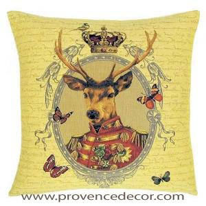 "ARISTO DEER PORTRAIT Tapestry Pillow Covers are woven on a Jacquard loom (crafted with true traditional tapestry technique) with 100% high quality cotton thread, lined with a plain beige cotton backing and close with a zipper. Size: 18"" X 18"""