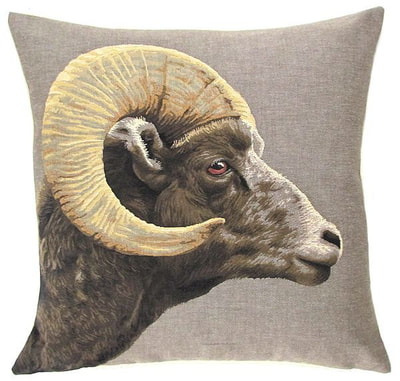 "CAPRICORN Tapestry Pillow Covers are woven on a Jacquard loom (crafted with true traditional tapestry technique) with 100% high quality cotton thread, lined with a plain beige cotton backing and close with a zipper. Size: 18"" X 18"""